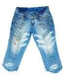 Blue denim breeches with steel studs — Stock Photo