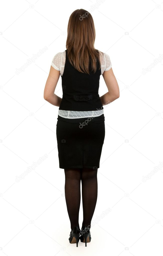 Beautiful business lady is back on a white background — Stock Photo #5603122