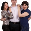 Stock Photo: Man and two women