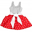 Red baby dress in polka dots — Stock Photo