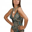 Glamour girl in a brown swimsuit — Stock Photo #5975363
