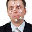 Word STUPID vylodennoe buttons on face — Stock Photo #6037459