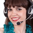 Portrait of girl with headphones with microphone — Stock Photo