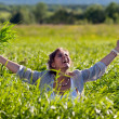 Girl screaming in grass — Stock Photo #6152457