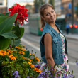 Stock Photo: Portrait of girl in denim vest