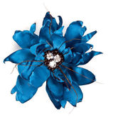 Blue fabric flower with crystals — Stock Photo