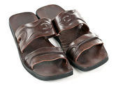 A pair of leather slippers for men — Stok fotoğraf