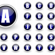 Alphabet blue button set — Stock Photo