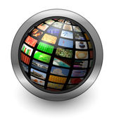 Multimedia sphere button — Stock Photo