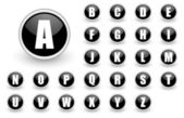 Alphabet black button set — Stock Photo