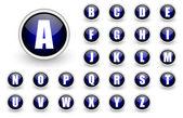 Conjunto de botón alfabeto azul — Foto de Stock