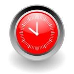 Clock steel glosssy icon — Stock Photo