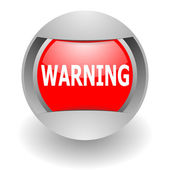 Warning steel glosssy icon — Stock Photo