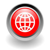 Global steel glosssy icon — Stockfoto