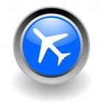 Plane steel glosssy icon — Stock Photo
