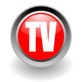 Tv steel glosssy icon — Stock Photo