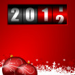 Happy new year illustration with counter and christmas balls - Stock Photo