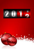 Happy new year illustration with counter and christmas balls — Stock Photo