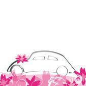 Bröllop bil — Stockvektor