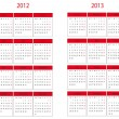 Stockvektor : Calendar 2012 and 2013 start in Monday