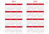 Calendar 2012 and 2013 start in Monday — ストックベクタ