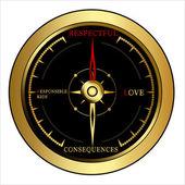 Bright golden Compass — Stock Vector