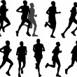 Stock Vector: Marathon runners