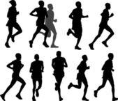 Corredores de maratón — Vector de stock