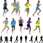 Marathon runners — Stock Vector