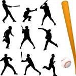 joueurs de baseball — Vecteur