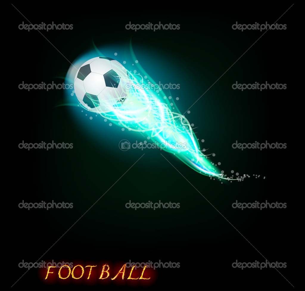 Football ball  on dark background  — Stock Vector #5709987
