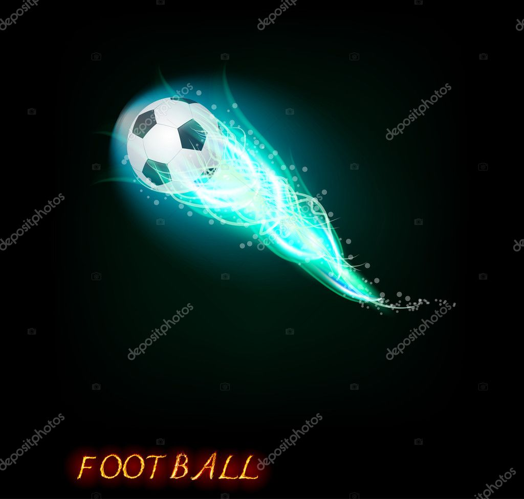 Football ball  on dark background  — ベクター素材ストック #5709987