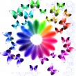 Abstract bright background with flower and butterflies - Stock Vector