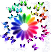 Abstract bright background with flower and butterflies — Stock Vector
