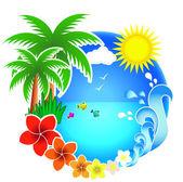 Tropic beach palms — Stock Vector