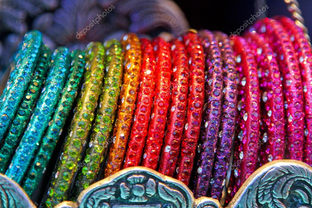Colorful bracelets assortment with decorative zircon stones  Stock Photo #5640128