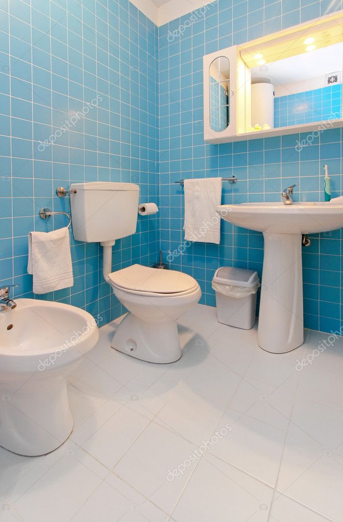 Синий унитаз дизайн туалета 112