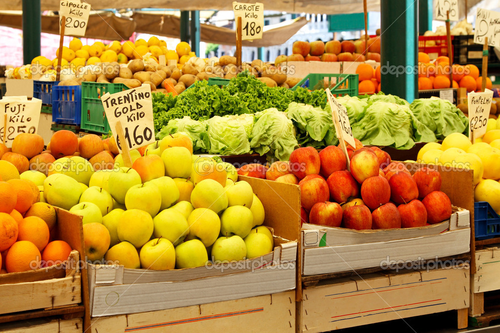 Fresh fruits at stall in farmers market  Stock Photo #6214207
