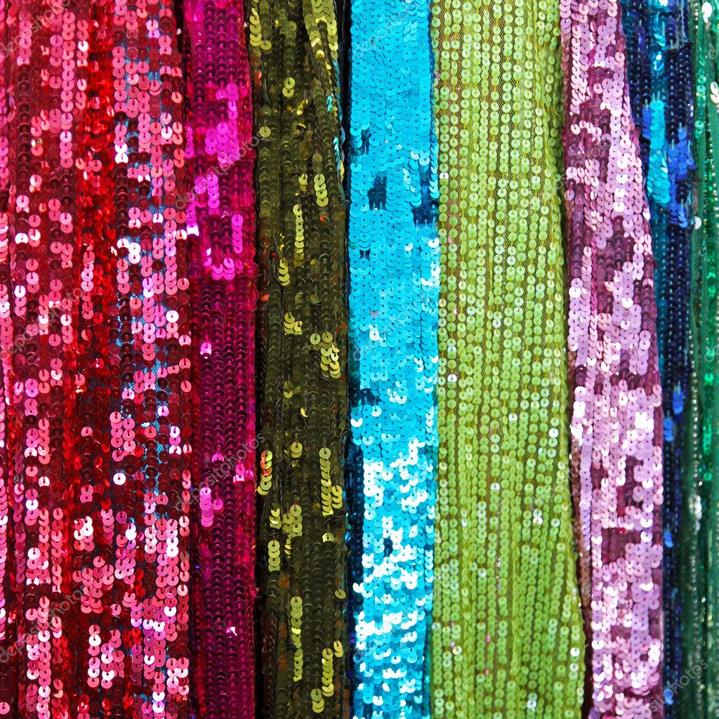 Detailed texture of colorful stripes of sparkling tinsels   #6358848