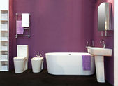 Purple bathroom — Stock Photo
