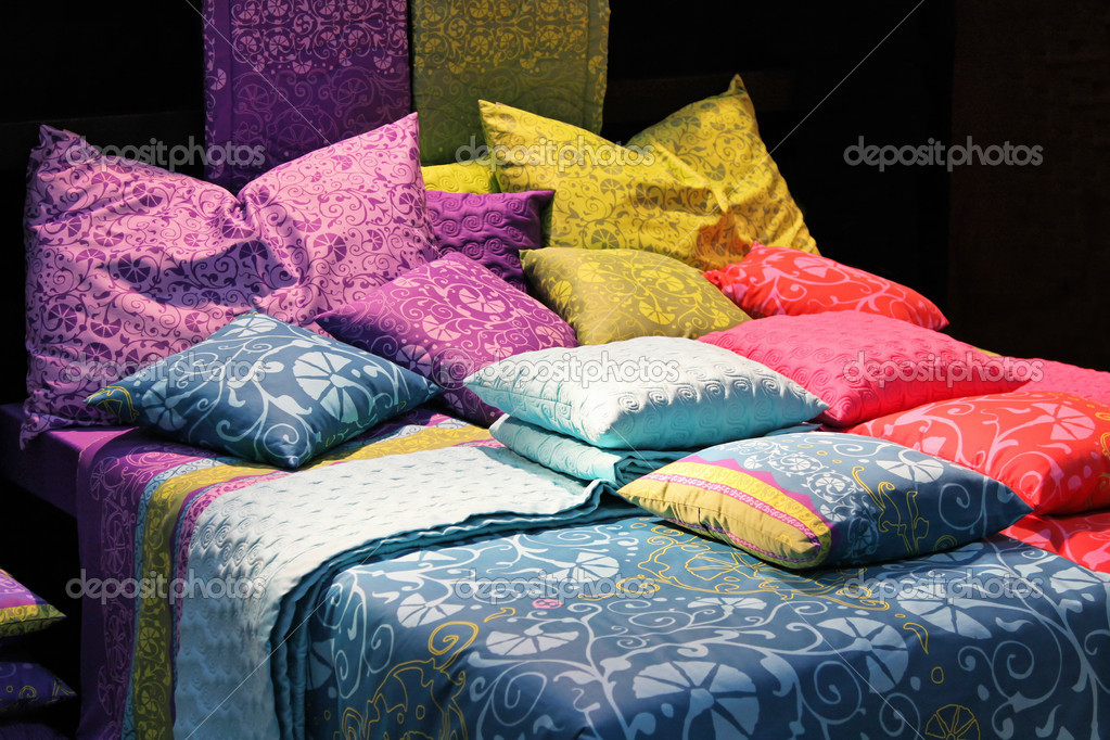 Big pile of color silk pillows in bedroom  Stock Photo #6680833
