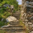 Staircase in the ruins of the ancient fortress - Stock Photo