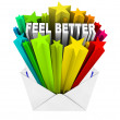 Feel Better Words in Evnelope - Get Well Card - Stock Photo
