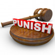 Punish - Judge Gavel and Word for Deciding Punishment - Stock Photo