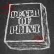 Death of Print - Chalk Outline of Book - Stock Photo