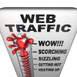 Stock Photo: Web Traffic Thermometer - Popularity Increasing