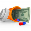 Prescription Medicine Bottle - Money Inside - Stock Photo