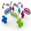 Royalty-Free Stock Photo: Unity - Talking in Speech Bubbles Pledging Teamwork