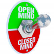 Open vs Closed Mind - Toggle Switch — Stock Photo