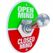 Open vs Closed Mind - Toggle Switch — 图库照片